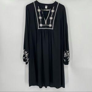 Old Navy Black Embroidered  Boho Dress